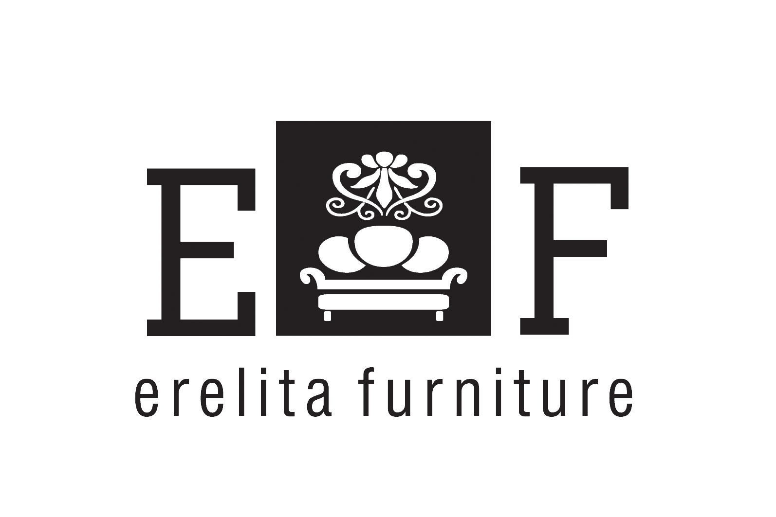 Erelita Furniture logo baltas 450dpi