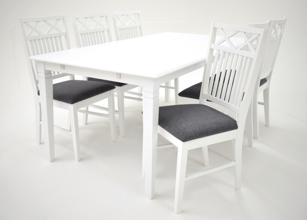 Sofiero table 180x95 White 900201 Gripsholm chair Grey